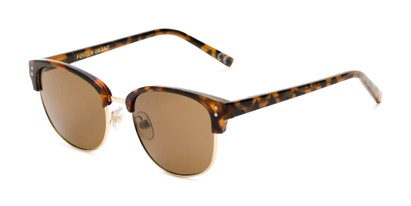 Angle of Delaney by Foster Grant in Tortoise/Gold Frame with Amber Lenses, Women's Browline Sunglasses