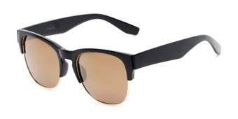 Angle of Dallas #54101 in Glossy Black Frame with Gold Mirrored Lenses, Women's and Men's Browline Sunglasses