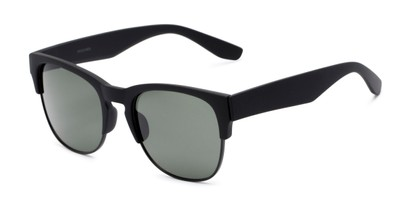 Angle of Dallas #54101 in Black Frame with Green Lenses, Women's and Men's Browline Sunglasses