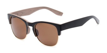 Angle of Dallas #54101 in Black/Faux Wood Frame with Amber Lenses, Women's and Men's Browline Sunglasses