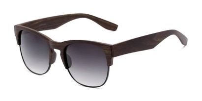 Angle of Dallas #54101 in Faux Wood Frame with Smoke Lenses, Women's and Men's Browline Sunglasses