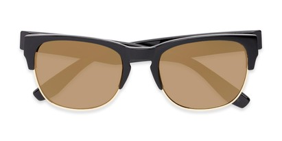 Folded of Dallas #54101 in Glossy Black Frame with Gold Mirrored Lenses