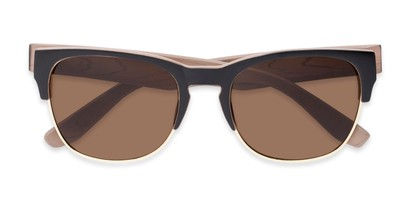 Folded of Dallas #54101 in Black/Faux Wood Frame with Amber Lenses