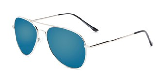 Angle of Desert in Silver Frame with Blue Mirrored Lenses, Women's and Men's Aviator Sunglasses