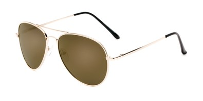 Angle of Desert #325 in Gold Frame with Amber Mirrored Lenses, Women's and Men's Aviator Sunglasses