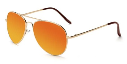 Angle of Desert in Gold Frame with Orange Mirrored Lenses, Women's and Men's Aviator Sunglasses