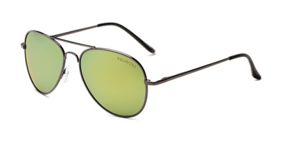 Angle of Desert in Grey Frame with Blue/Yellow Mirrored Lenses, Women's and Men's Aviator Sunglasses