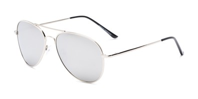 Angle of Desert in Silver Frame with Silver Mirrored Lenses, Women's and Men's Aviator Sunglasses