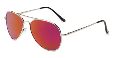Angle of Desert in Silver Frame with Pink/Orange Mirrored Lenses, Women's and Men's Aviator Sunglasses