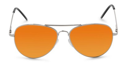 Front of Desert in Silver Frame with Orange Mirrored Lenses