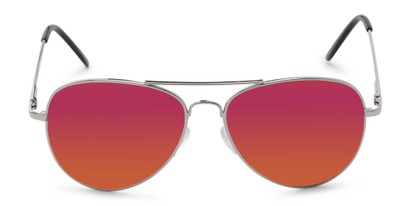Front of Desert in Silver Frame with Pink/Orange Mirrored Lenses
