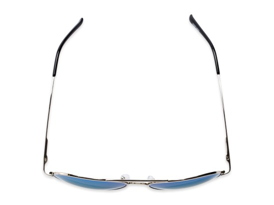 Overhead of Desert in Silver Frame with Blue Mirrored Lenses