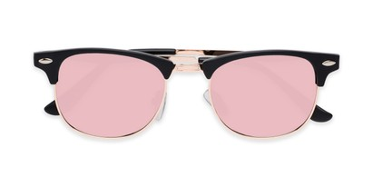 Folded of Devon in Black Frame with Pink Mirrored Lenses