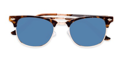 Folded of Devon in Tortoise Frame with Blue Mirrored Lenses