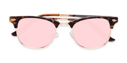 Folded of Devon in Tortoise Frame with Pink Mirrored Lenses