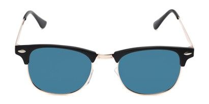 Front of Devon in Black Frame with Blue Mirrored Lenses