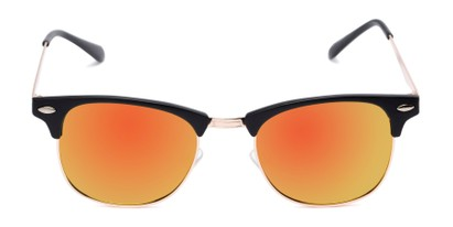 Front of Devon in Black Frame with Orange/Yellow Mirrored Lenses