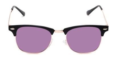 Front of Devon in Black Frame with Purple Mirrored Lenses
