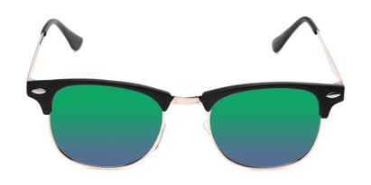 Front of Devon in Black Frame with Green/Purple Mirrored Lenses