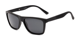 Angle of Dillon #2776 in Matte Black Frame with Grey Lenses, Women's and Men's Retro Square Sunglasses
