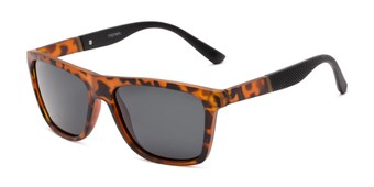 Angle of Dillon #2776 in Matte Tortoise Frame with Grey Lenses, Women's and Men's Retro Square Sunglasses
