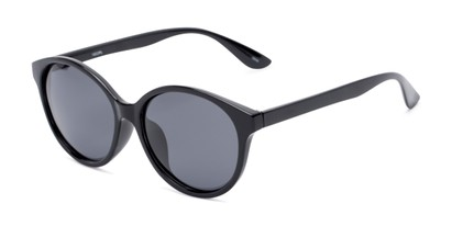 Angle of Dolores #16021 in Black Frame with Grey Lenses, Women's Round Sunglasses