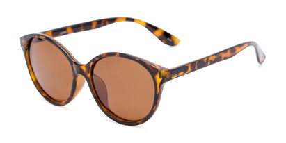 Angle of Dolores #16021 in Tortoise Frame with Amber Lenses, Women's Round Sunglasses
