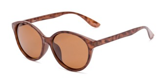 Angle of Dolores #16021 in Light Tortoise Frame with Amber Lenses, Women's Round Sunglasses