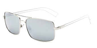 Angle of Dorian #2201 in Silver Frame with Silver Mirrored Lenses, Women's and Men's Aviator Sunglasses