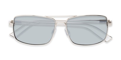 Folded of Dorian #2201 in Silver Frame with Silver Mirrored Lenses