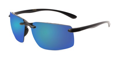 Angle of Drew #2774 in Black Frame with Blue Mirrored Lenses, Men's Sport & Wrap-Around Sunglasses