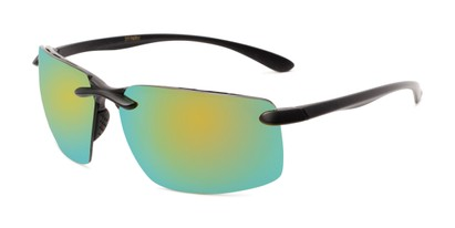 Angle of Drew #2774 in Black Frame with Yellow/Blue Mirrored Lenses, Men's Sport & Wrap-Around Sunglasses