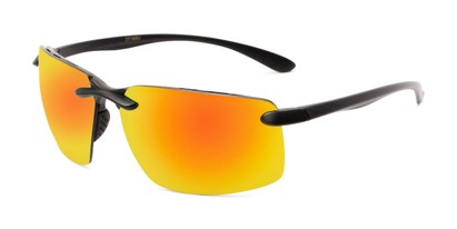 Angle of Drew #2774 in Black Frame with Yellow/Orange Mirrored Lenses, Men's Sport & Wrap-Around Sunglasses
