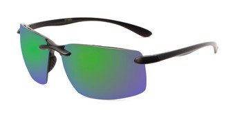 Angle of Drew #2774 in Black Frame with Green/Purple Mirrored Lenses, Men's Sport & Wrap-Around Sunglasses