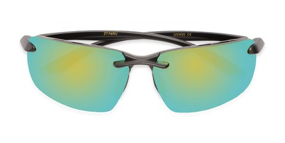 Folded of Drew #2774 in Black Frame with Yellow/Blue Mirrored Lenses