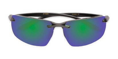 Folded of Drew #2774 in Black Frame with Green/Purple Mirrored Lenses
