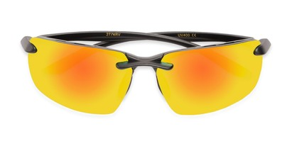 Folded of Drew #2774 in Black Frame with Yellow/Orange Mirrored Lenses