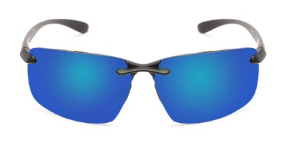 Front of Drew #2774 in Black Frame with Blue Mirrored Lenses