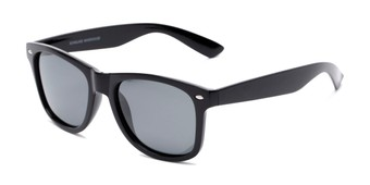 Angle of Drifter in Black Frame with Smoke Lenses, Women's and Men's Retro Square Sunglasses