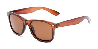 Angle of Drifter #540432 in Brown Frame with Amber Lenses, Women's and Men's Retro Square Sunglasses
