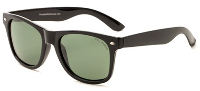 Angle of Drifter #540432 in Black Frame with Green Lenses, Women's and Men's Retro Square Sunglasses