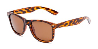 Angle of Drifter #540432 in Tortoise Frame with Amber Lenses, Women's and Men's Retro Square Sunglasses