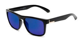 Angle of Duke #6097 in Glossy Black Frame with Blue Mirrored Lenses, Men's Retro Square Sunglasses