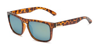 Angle of Duke #6097 in Glossy Tortoise Frame with Green Mirrored Lenses, Men's Retro Square Sunglasses