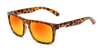 Angle of Duke #6097 in Glossy Tortoise Frame with Orange Mirrored Lenses, Men's Retro Square Sunglasses