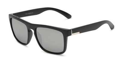 Angle of Duke #6097 in Matte Black Frame with Silver Mirrored Lenses, Men's Retro Square Sunglasses