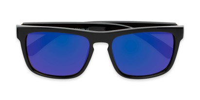 Folded of Duke #6097 in Glossy Black Frame with Blue Mirrored Lenses
