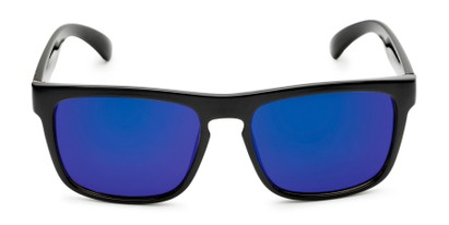 Front of Duke #6097 in Glossy Black Frame with Blue Mirrored Lenses