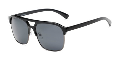 Angle of Duncan in Black Frame with Smoke Lenses, Men's Browline Sunglasses