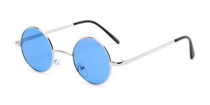 Angle of Dune in Silver Frame with Blue Lenses, Women's and Men's Round Sunglasses